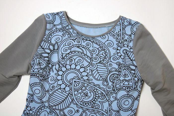 Blue and gray knitted dress, mehndi print, custom made dress / niebiesko-szara sukienka z dzianiny, wzór mehndi