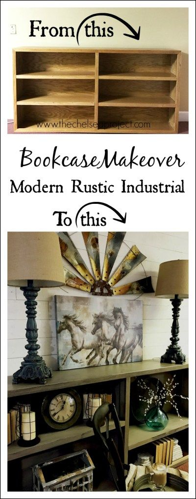 Bookcase Makeover: From 80's Oak to Modern Rustic Industrial - The Chelsea Project