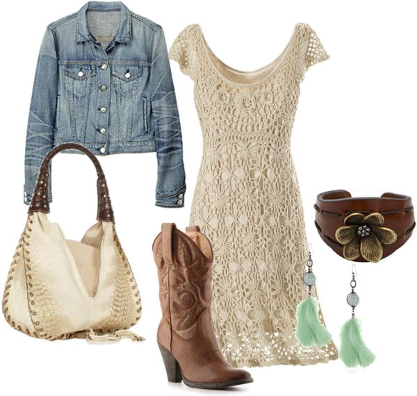 """western sexy, crocheted dress look"" by reneepiatt on Polyvore.  Change out the boots for some nicer looking ones!"