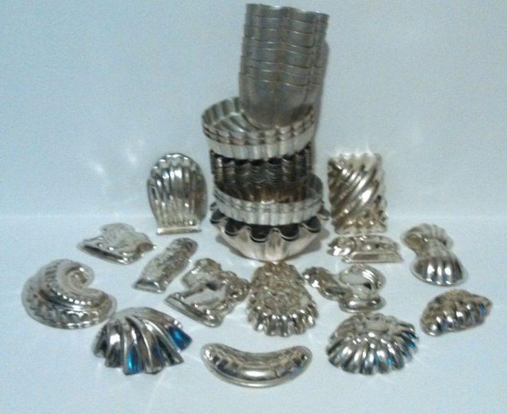 Lot of 42 pc vintage aluminum jello swirl baking mini