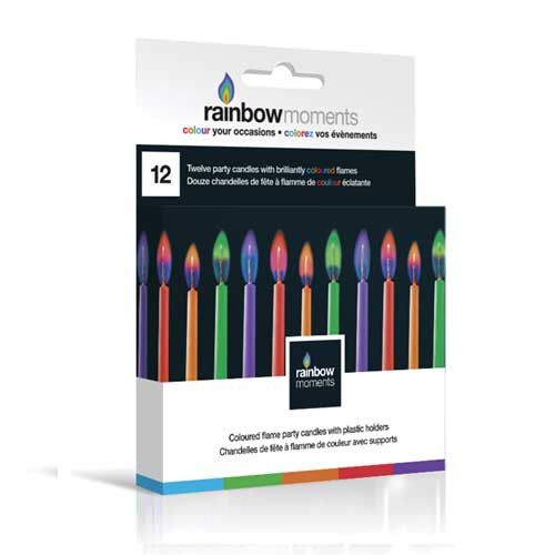 Rainbow Moments Color Flame candles. Comes in purple, green, orange and red