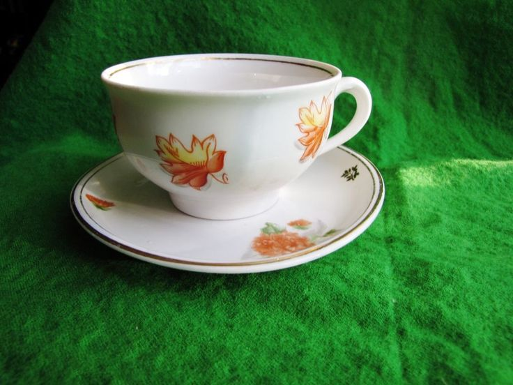 Vintage USSR Latvia Riga PFF & RPF Cofee Cup & Saucer Gold White red 1962 #467