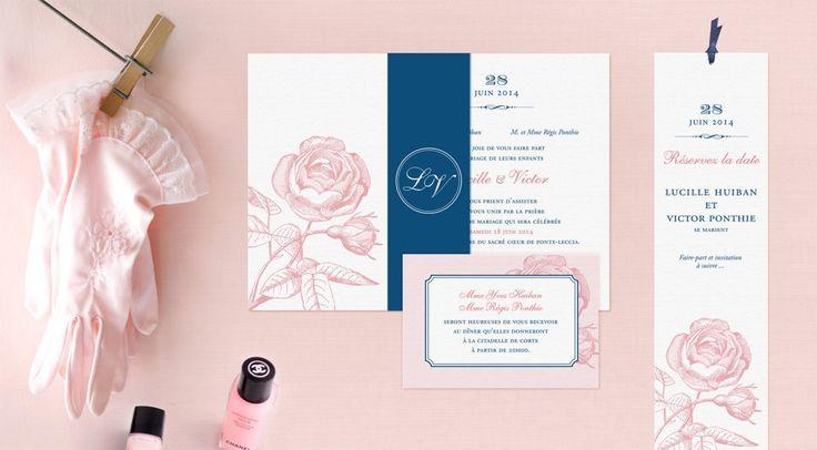 faire part mariage rose et bleu marine marque page save the date graphisme mariage. Black Bedroom Furniture Sets. Home Design Ideas