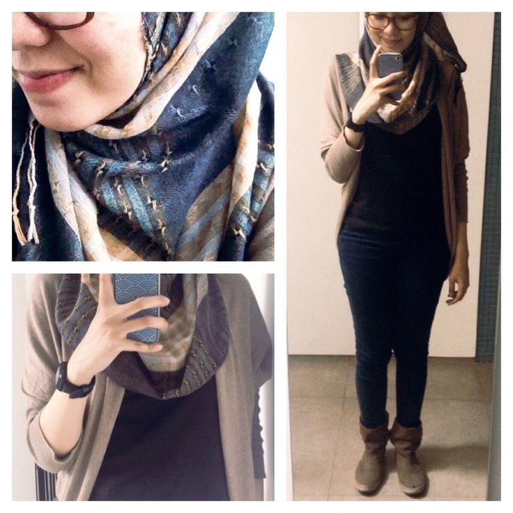 #ootd hijab style : cardigan, t-shirt, jeans, shawl, boots. #fien