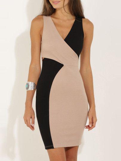 Vestido cuello V sin espalda -color combinado-Spanish SheIn(Sheinside) Sitio Móvil