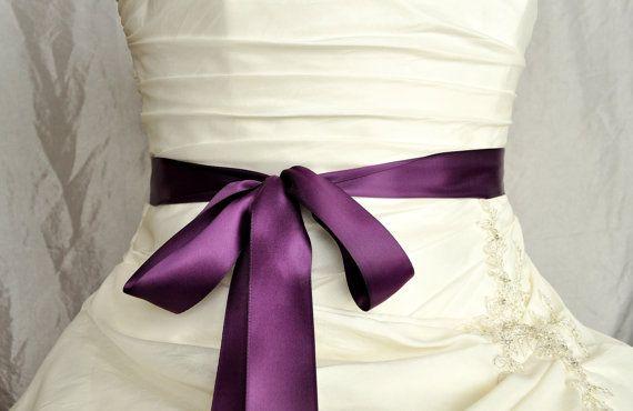 Satin Hochzeit Gürtel, Plum lila Satin Hochzeit Schärpe, Bridal Gürtel Braut Schärpe Kleid Brautjungfer Gürtel, Schärpe einfache Satin Sash, benutzerdefinierte Farben