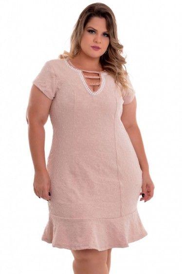 Vestido Plus Size Pérolas Rose