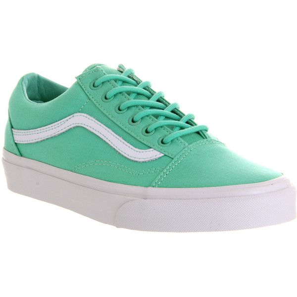 Vans Old Skool ($40) ❤ liked on Polyvore featuring shoes, sneakers, trainers, biscay green true white, unisex sports, green shoes, waffle trainer, green sneakers, vans trainers and sports trainer