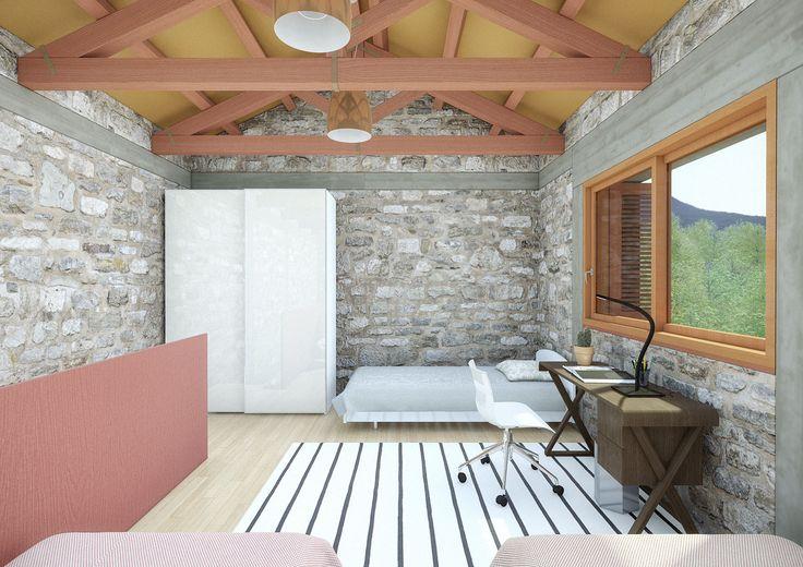 Small Weekend House 110 sqm in Polydrosos, Fokida, Greece, 3D Rendering - www.pzarch.gr