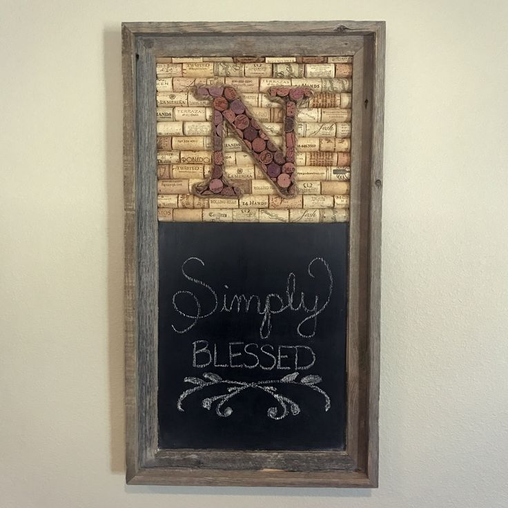 Wine cork monogram and chalkboard in a barnwood frame | rustic decor | simply blessed