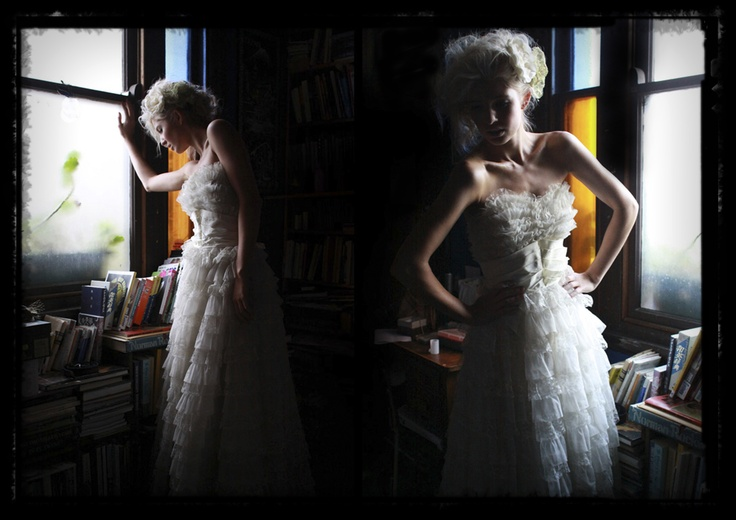 $ 50 Size 14 Vintage Dress from a second hand shop. The model is only in size 8 and we used many bull clips to keep the dress up. #jimmytsang