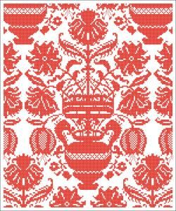 Red vase of flowers   chart for cross stitch.