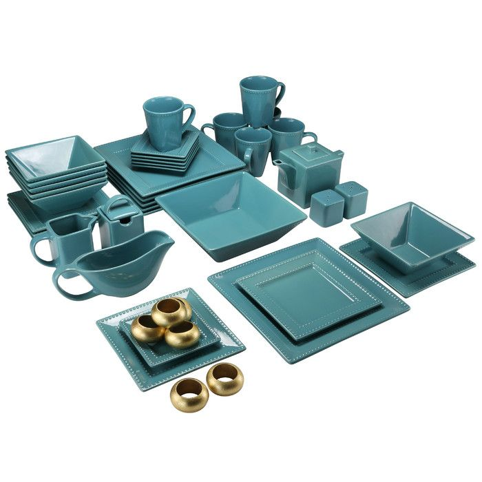 Features:  -Set include: 6 dinner plates, 6 salad plates, 6 cups, 6 saucers, 6 sauce dishes, 6 soup bowl, 1 large serving bowl, 1 baking dish, 1 casserole dish with lid, 1 creamer, 2 salt pepper shake