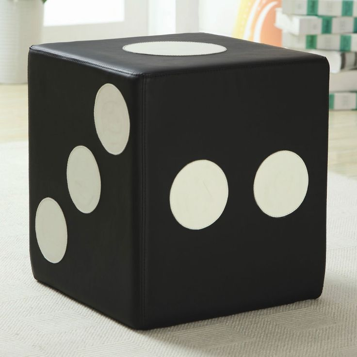 Black White Dice Motif Ottoman Cube Game Room Furniture Home Decor Den Apt Dorm #wildon #Modern $79.99