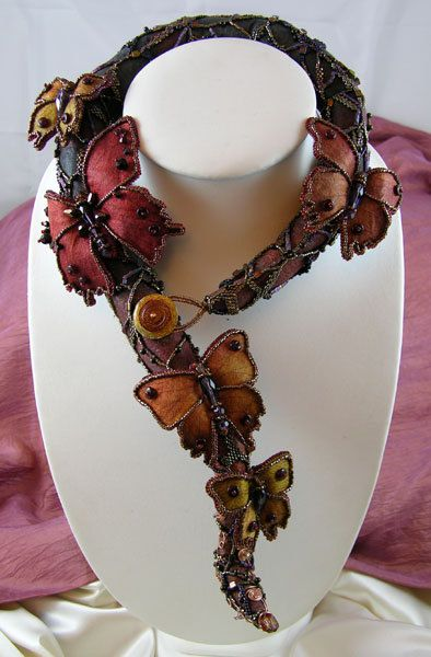 Wings at Dusk - Embroidered Silk Necklace