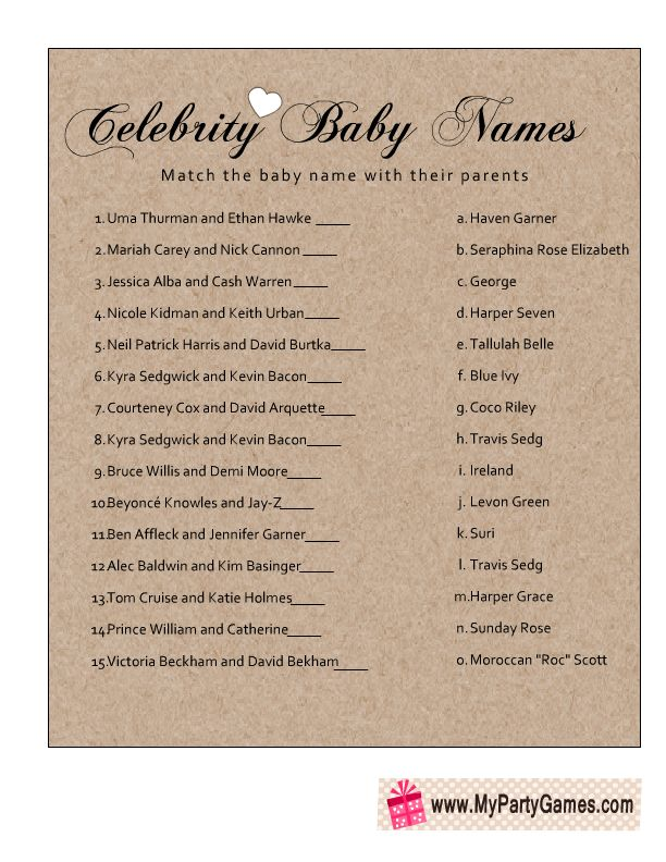 Free Printable Celebrity Baby Name Game