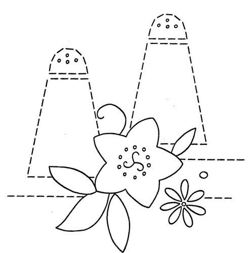 Hand Embroidery Pattern 3200 Dishes Flowers for Tea Towels 1940s    6 of 7