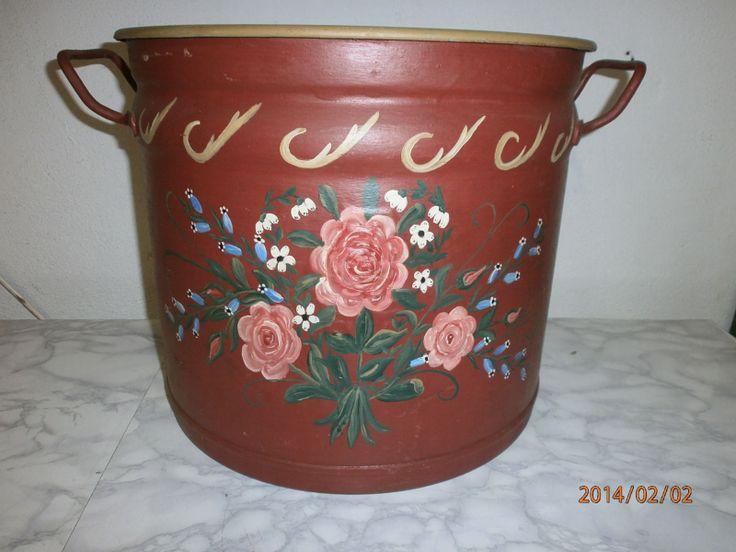 Bauernmalerei Eindünstkessel metal hand painted red (D) | eBay