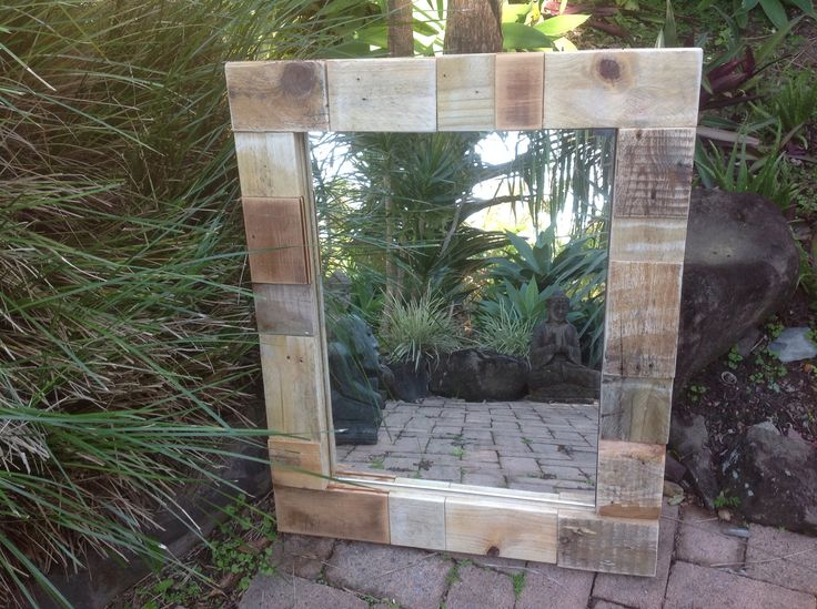 """Rustic reclaimed wood scraps rubbed back to its natural beauty. Great for this mirror. Made by """"Touchwood creations Mooloolaba, Sunshine Coast. Australia"""