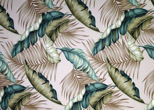 Banana Leaf Taupe. Tropical Hawaiian banana leaf upholstery barkcloth fabric.