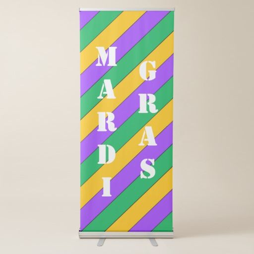 #MardiGras #Party #Decor Stripes Pattern Purple Green Yellow #Retractable #Banner, you can change the text