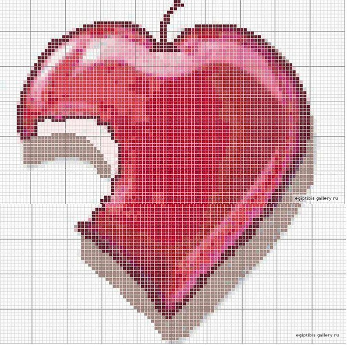 Cross-stitch Heart-shaped Apple... no color chart available, just use pattern chart as you color guide... or choose your own colors.... <3