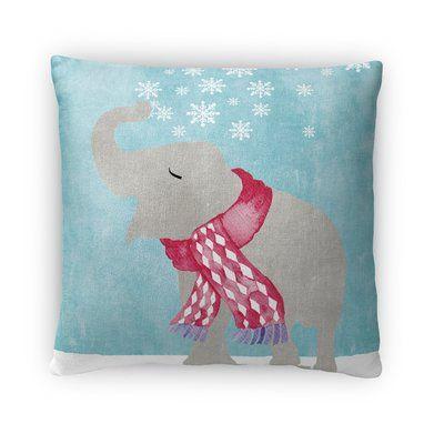 "Kavka Snow Elephant Throw Pillow Size: 16"" H x 16"" W x 4"" D"