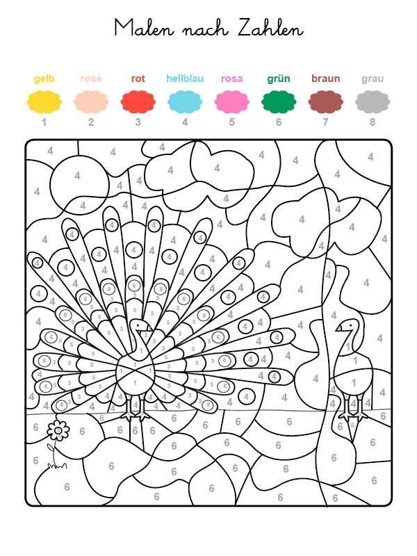 Ausmalbild Malen Nach Zahlen Pfau Ausmalen Kostenlos Ausdrucken Malen Nach Zahlen Vorlagen Malen Nach Zahlen Malen Nach Zahlen Kinder