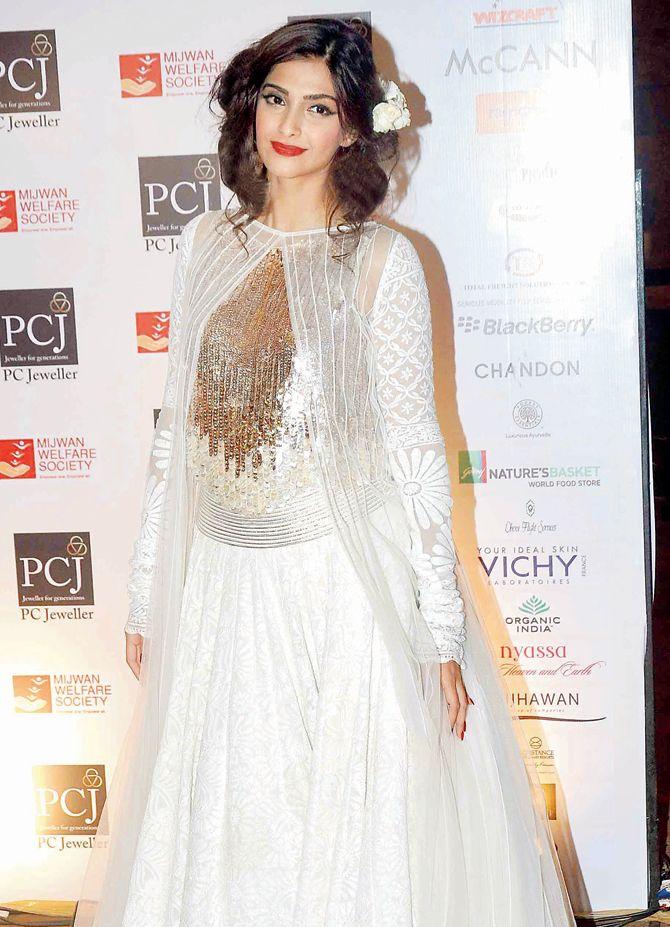 Sonam Kapoor at Shabana Azmi's fashion show 'Mijwan'.