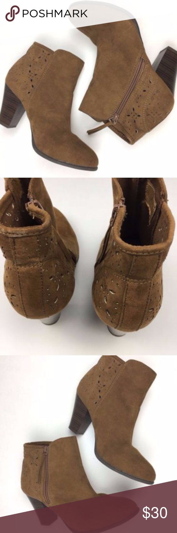 """American Eagle Outfitters laser cut ankle booties American Eagle Outfitters brown fabric ankle booties laser cut back size 7.5 very minor signs of wear  Adorable booties with a laser cut detail at the ankle 3"""" heel Brown/tan Side zip American Eagle Outfitters Shoes Ankle Boots & Booties"""