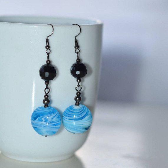 Long black crystal earrings Handmade Blue dangle drop