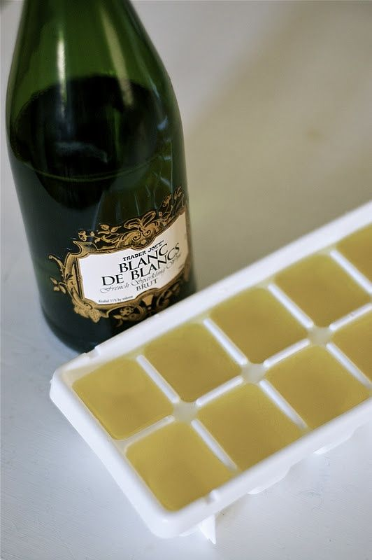 Champagne ice cubes for orange juice at brunch.