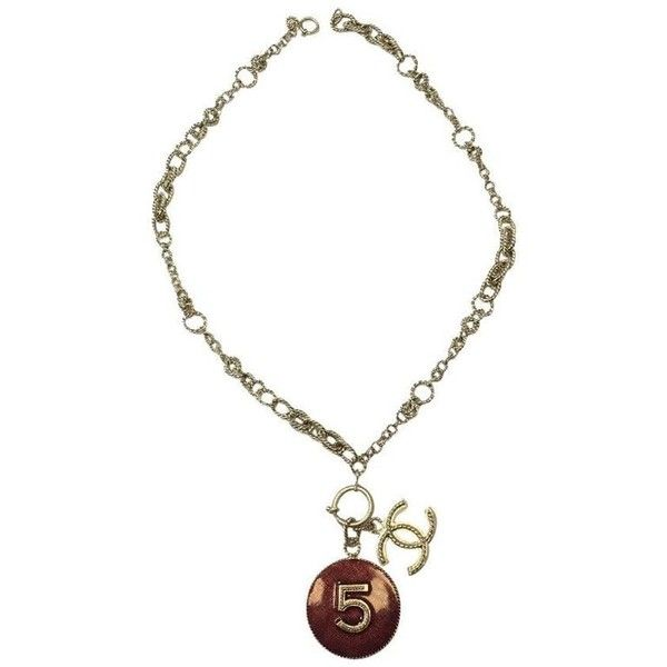 Preowned Chanel Pendant N°5 And Cc Necklace In Gilded Metal And... ($1,084) ❤ liked on Polyvore featuring jewelry, necklaces, chain necklaces, red, red pendant, red chain necklace, red pendant necklace, engraved necklace and chain pendant necklace