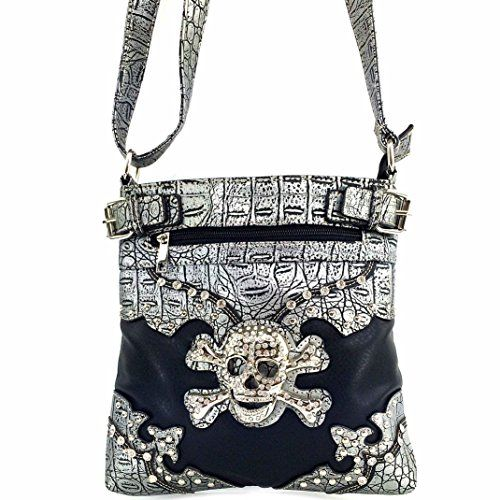 Justin West Tooled Rhinestone Skull Croc Skin Crossbody Messenger Bag Handbag Purse with Concealed Carry and Phone Slot Black * Want to know more, click on the image.