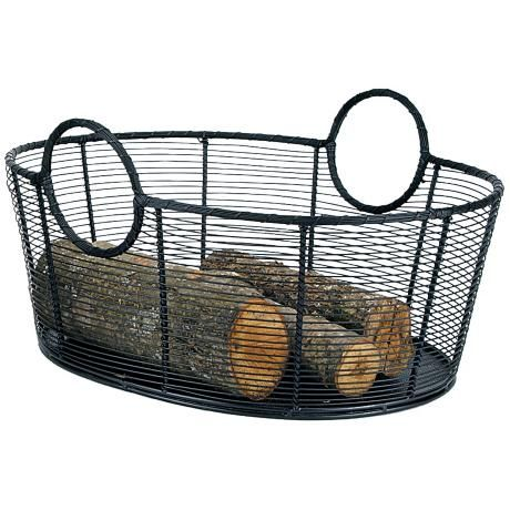 fireplace log holder with tools large steel wire basket wood black home depot