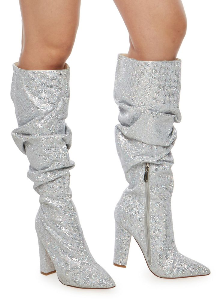 Ruched Glitter High Heel Boots,SILVER,large
