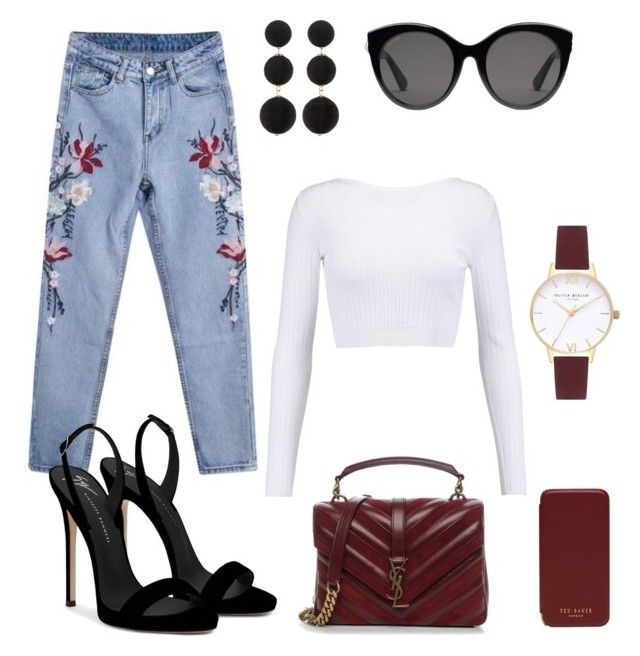 """""""Fashion & Style"""" by matinapapadopoulou on Polyvore featuring Cushnie Et Ochs, Giuseppe Zanotti, Topshop, Cara, Yves Saint Laurent, Gucci and Ted Baker"""