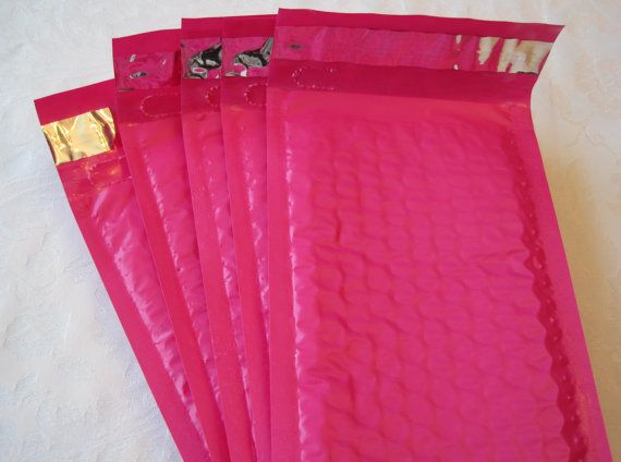 25 4x8 Hot Pink Bubble Mailer Self Seal Envelopes Padded Bubble Wrap Mailers 4x8