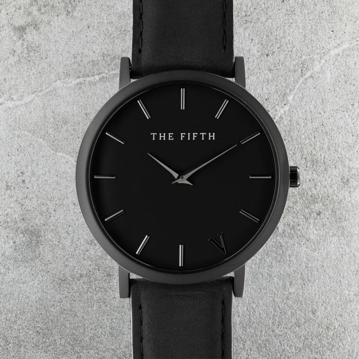 The Fifth Watches New York Classic // Brooklyn - Sandblasted Black Casing, 316L Stainless Steel Bezel, Hardened Mineral Crystal Lens, Japanese Quartz Movement, Water Resistant 5ATM, Face Diameter 41.0mm, Case Thickness 6.0mm