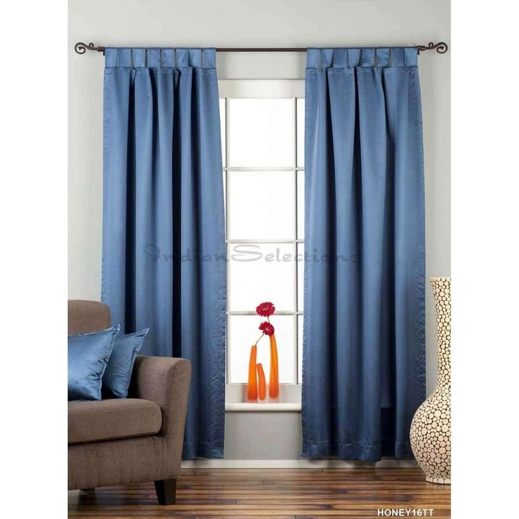 indian selections blue tab top 90 blackout curtain drape panel piece 120 inches matching lining 80 x 120 inches 203 x 304 cms size matching