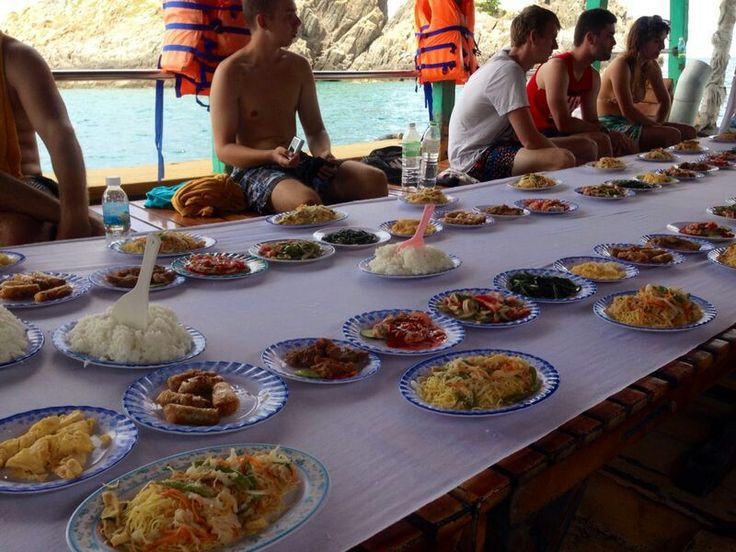 Lunch on our snorkeling tour. Seafood.  Noodles. Rice. Veggies. Springrolls. Nha Trang .Vietnam