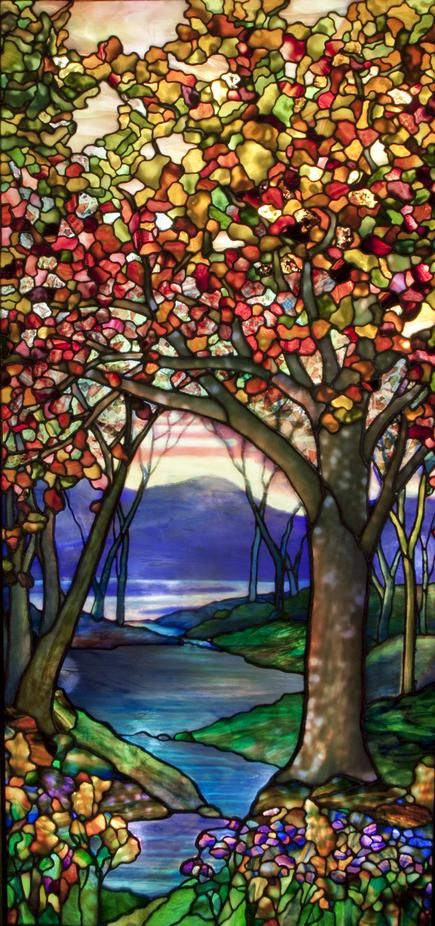 Tiffany Studios Autumn Landscape Window 1 ⊙⊙stained