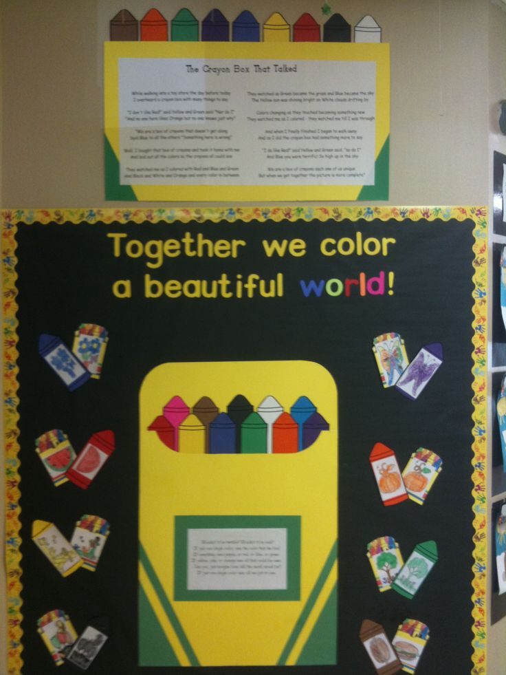 Best 25 crayon bulletin boards ideas on pinterest back for Back to school board decoration