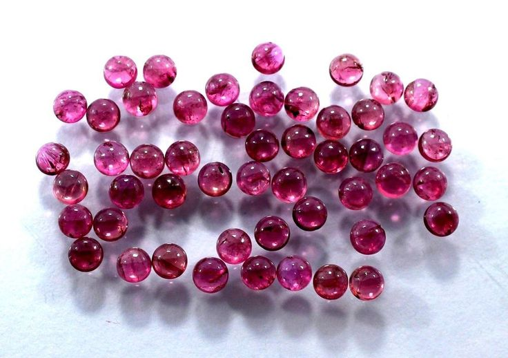 40Pic Natural Ruby Pink Tourmaline Gemstone 4mm Round Cabochon Wholesale Lot S28 #Unbranded #JewelrySupplies