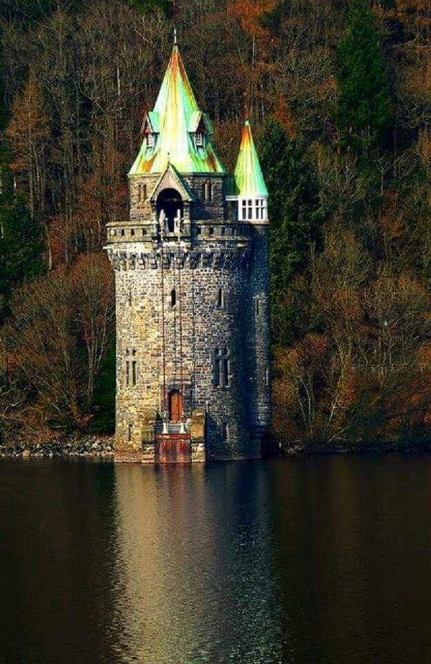 The Straining Tower Lake, Llanwddyn, Wales