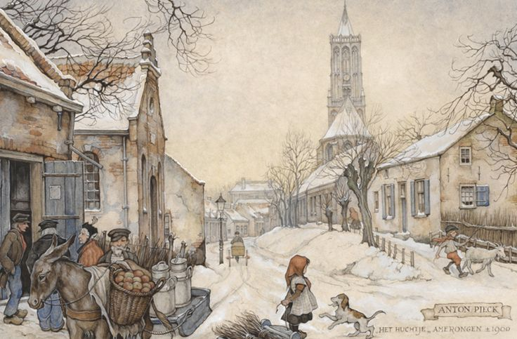Achter de kerk in Amerongen staat een rijtje 18e eeuwse huizen, dat in de volksmond 'het 'Huchie'' wordt genoemd, omdat het nogal hoog ligt. Deze tekening is meerdere malen als kerstkaart gebruikt.