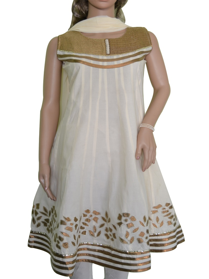 Anarkali Style Off-White cotton Salwar Kameez with Patch work in Gold on the yolk and bottom. Additional cloth for optional medium size sleeves available. Match it with gold or pearl jewellery for an ideal Occasional wear. www.folklor.in