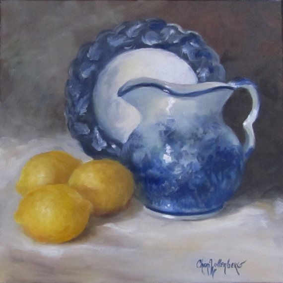 Hey, I found this really awesome Etsy listing at https://www.etsy.com/listing/177674141/blue-willow-yellow-lemons-12x12-canvas