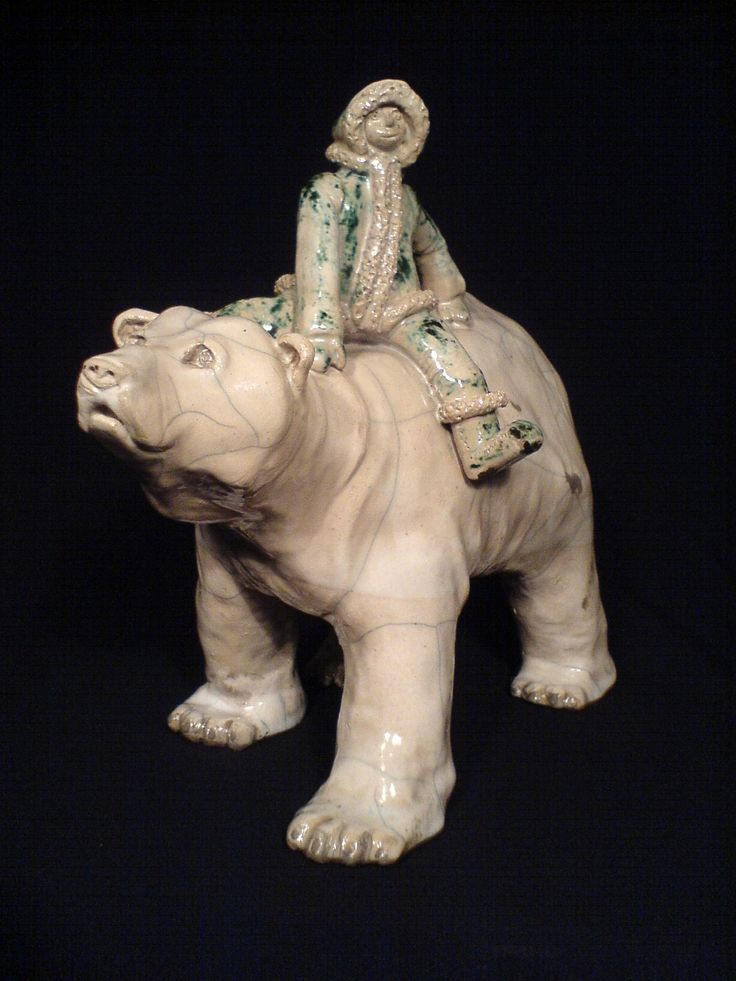 Raku sculpure - polar bear with eskimo rider