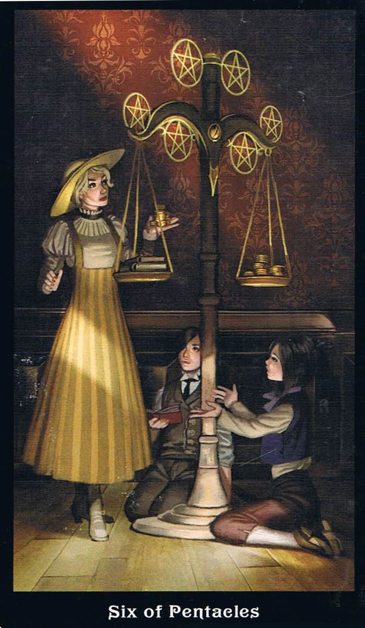 The Six of Pentacles - Steampunk Tarot